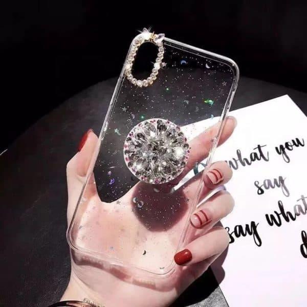 Glitteres köves telefontok fehér átlátszó