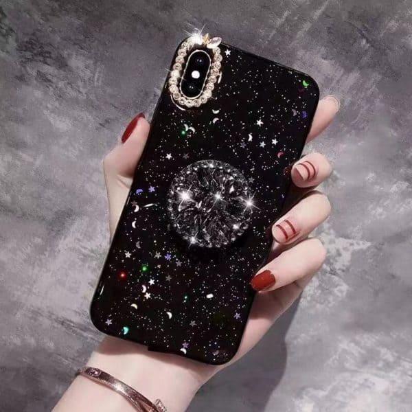 Glitteres köves telefontok fekete