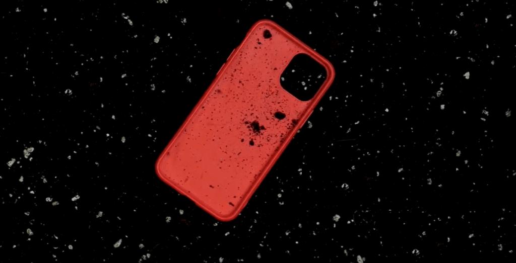 komposztálható telefontok piros színben